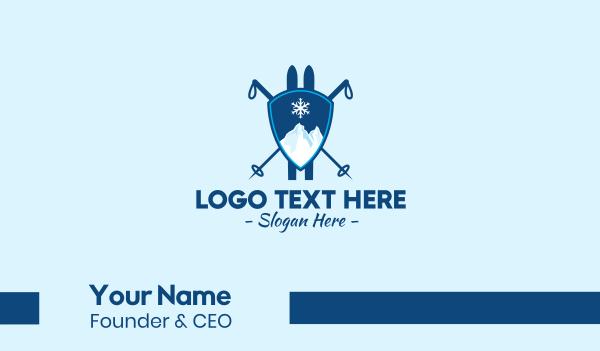 snowflake - Mountain Ski Lodge  Business card horizontal design