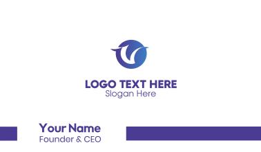 Gradient Blue Circle Letter V Business Card