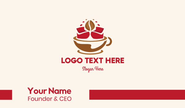 cup and saucer - Floral Cafe Business card horizontal design