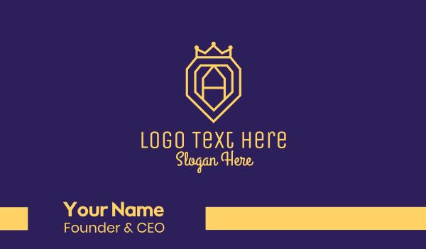 established - Gold Letter A Crown Emblem Business card horizontal design