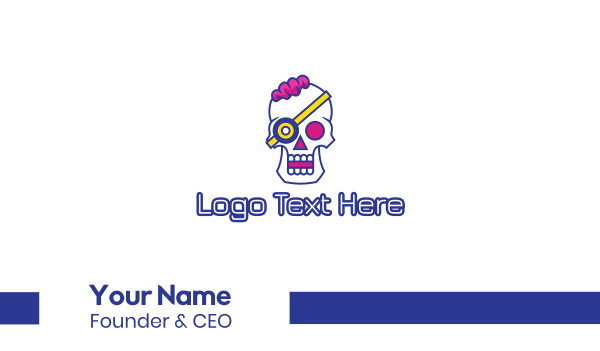 skeletal - Modern Punk Skull Business card horizontal design