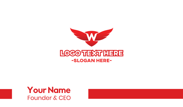 ornithology - Red W Wings Business card horizontal design
