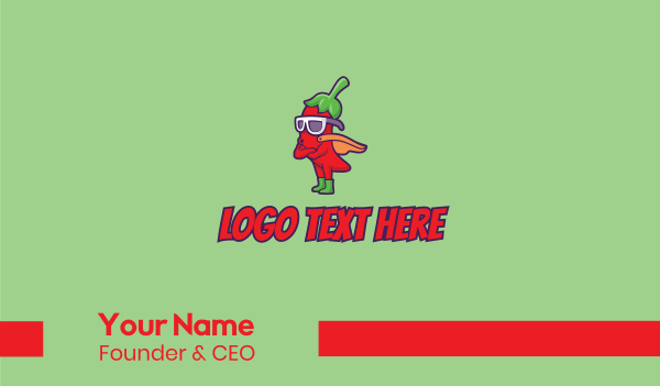taqueria - Superhero Chili Pepper  Business card horizontal design