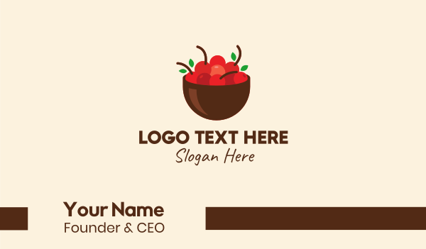 red cherry - Fruit Red Cherry Bowl Business card horizontal design