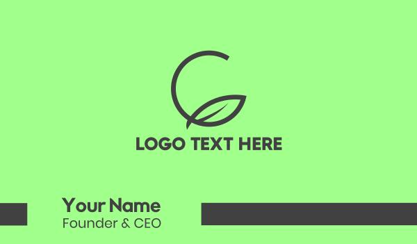 grow - Green Leaf Circle Business card horizontal design