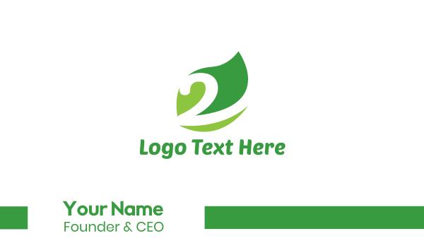 number 2 - Green Leaf Number 2 Business card horizontal design