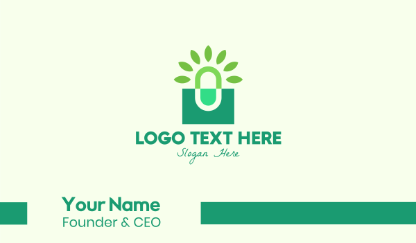 caplet - Green Herbal Medicine Business card horizontal design
