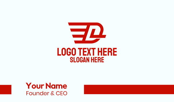 logistic services - Flying Wings Letter D Business card horizontal design