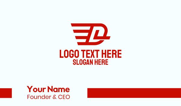 letter d - Flying Wings Letter D Business card horizontal design