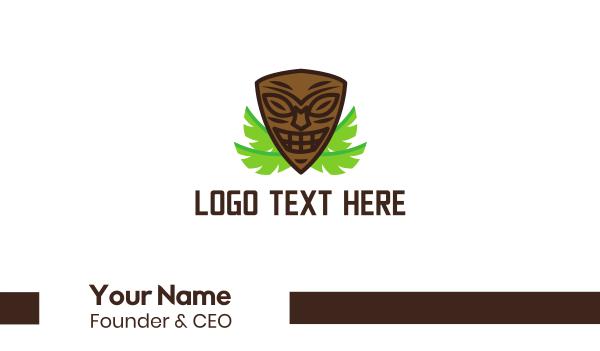zulu - Smiling Tiki Mask Business card horizontal design