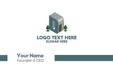 Modern Building Letter D Business Card