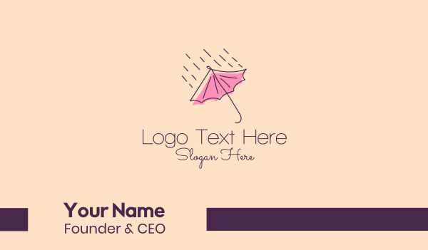 raindrop - Rain Weather Umbrella  Business card horizontal design