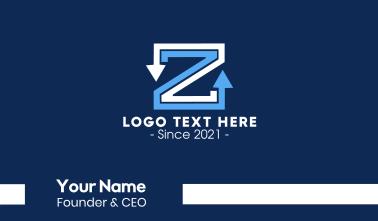 Letter Z Arrows Business Card