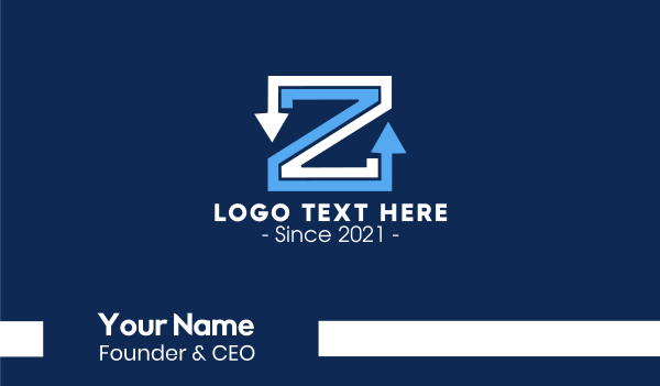 mark - Letter Z Arrows Business card horizontal design