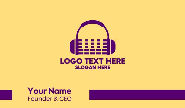 audio recording - Purple Audio Mixing Headphones Business card horizontal design