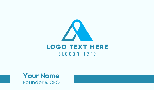 geolocation - Blue Locator Letter A Business card horizontal design