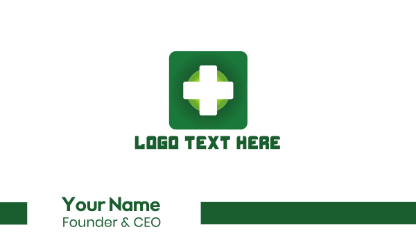 pharmaceutics - Medical Green Cross App Business card horizontal design
