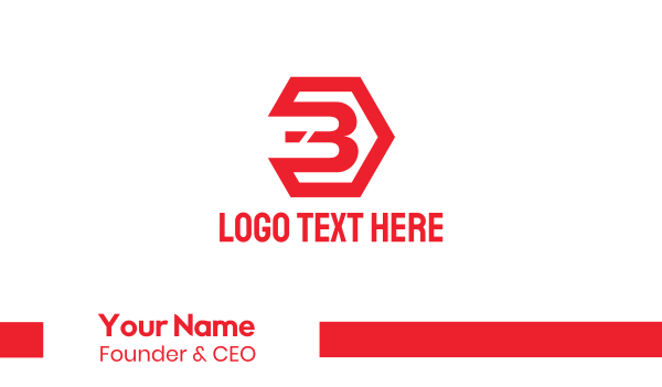 red hexagon - Red Industrial Number 3 Business card horizontal design