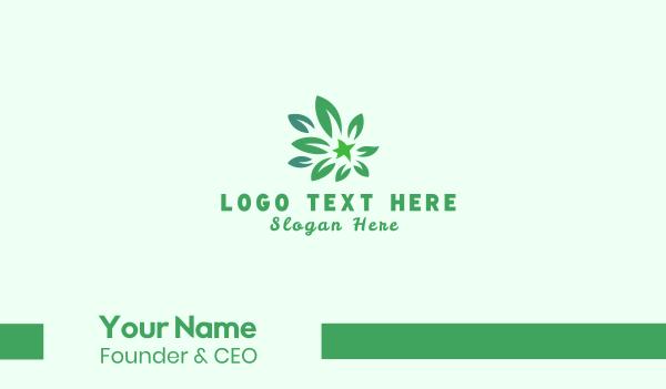 green flower - Green Leaves Business card horizontal design