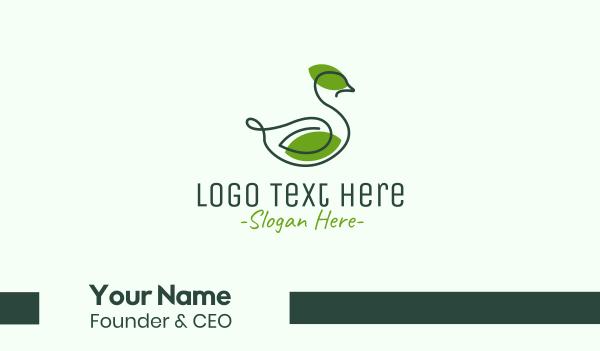 ecofriendly - Green Leaf Duck Business card horizontal design