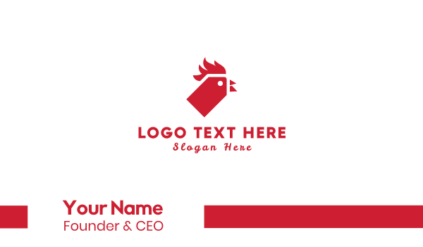 red bird - Rooster Tag Business card horizontal design