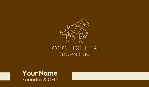 brown and white - Geometric Prancing Horse  Business card horizontal design