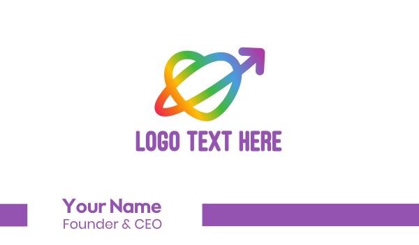 lgbt - Rainbow Arrow Loop Business card horizontal design