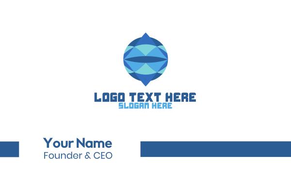 blue diamond - Crystal Circle Globe Business card horizontal design