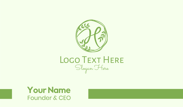 natural - Green Herbal Letter H Business card horizontal design