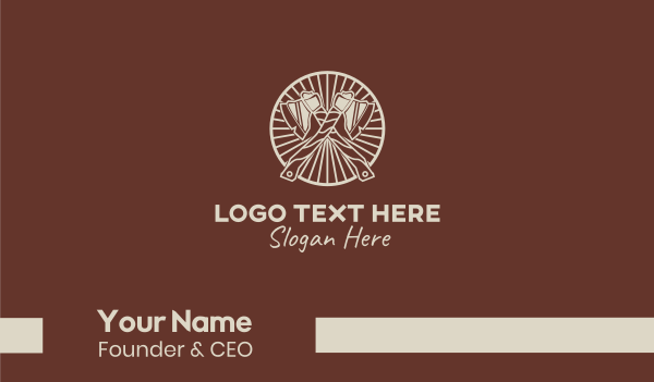 axe - Wooden Lumberjack Axe Business card horizontal design