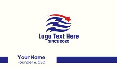Patriotic Flag Banner Business Card