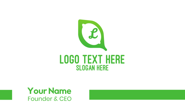 citric - Green Lime Leaf Business card horizontal design