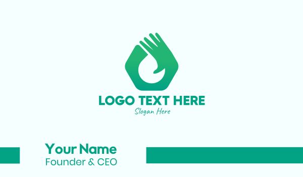 sanitizer - Green Hand Glove Business card horizontal design