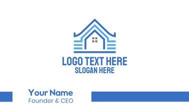 Blue Pattern House Business Card