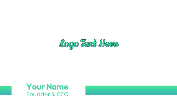 handcrafted - Fresh Cursive Wordmark Text Business card horizontal design