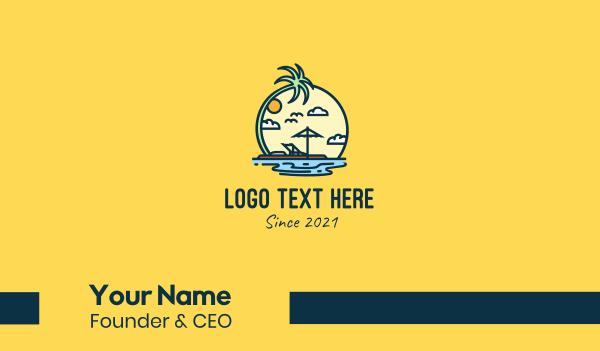 lagoon - Island Vacation  Business card horizontal design