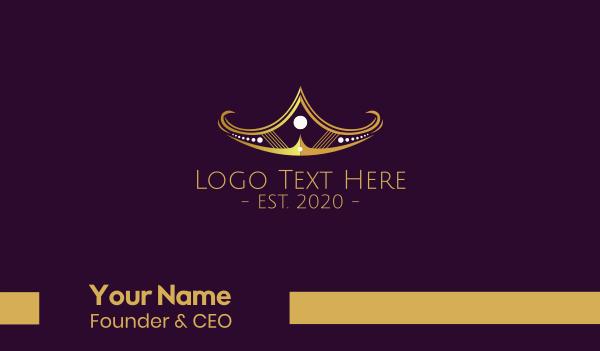jewelry - Golden Tiara Coronet Business card horizontal design