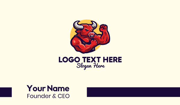 mad - Boxing Bull Muscle Gym Business card horizontal design