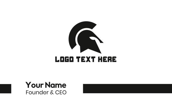 spartan - Black Spartan Helmet Business card horizontal design
