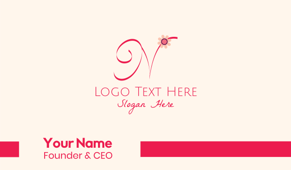 blooming - Pink Flower Letter N Business card horizontal design