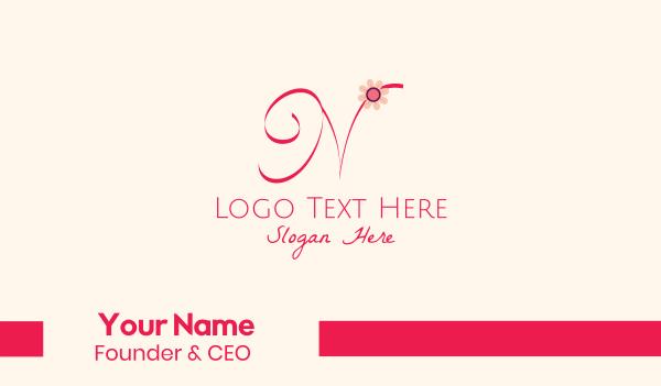 bloom - Pink Flower Letter N Business card horizontal design