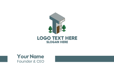 Modern Building Letter T Business Card
