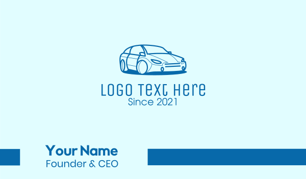 auto repair - Blue Sedan Car Business card horizontal design