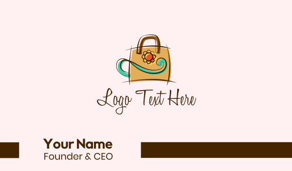 sunflower - Elegant Flower Handbag Business card horizontal design