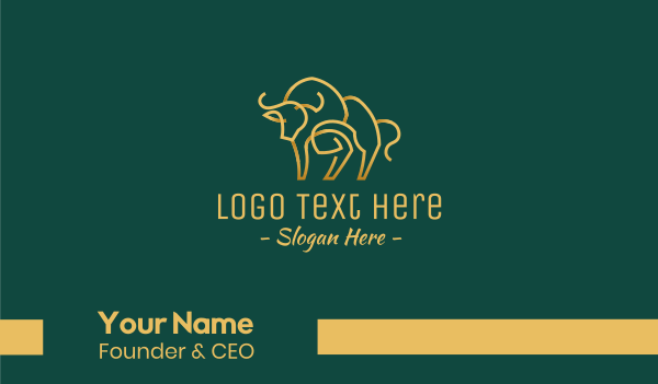 feng shui - Golden Ox Monoline Business card horizontal design
