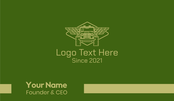 suv - Green Off Road Truck 4WD Business card horizontal design