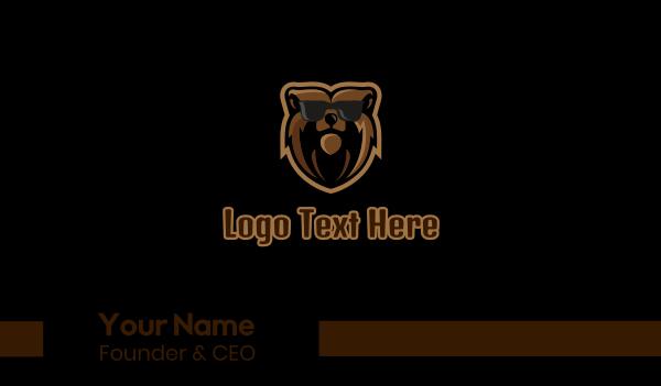 animal mascot - Hipster Bear Sunglasses Mascot Business card horizontal design