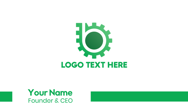 turbo - Green Gear Business card horizontal design