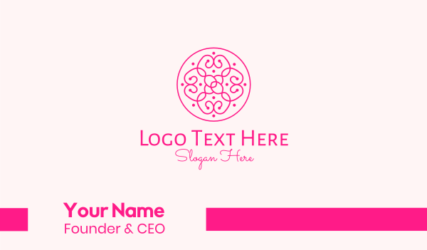decoration - Pink Dainty Pattern  Business card horizontal design
