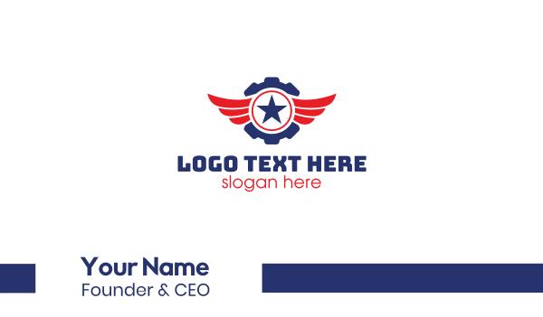 aircraft engineer - Automotive Gear Wing Star Business card horizontal design